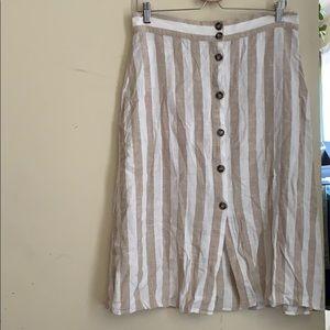 Striped linen blend button up skirt